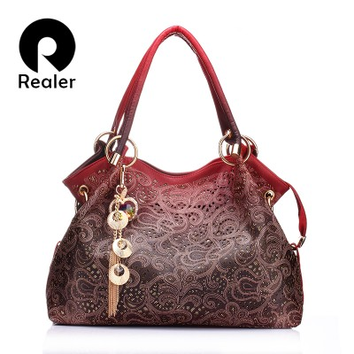 REALER brand women bag hollow out ombre handbag floral print shoulder bags ladies pu leather tote bag redgrayblue