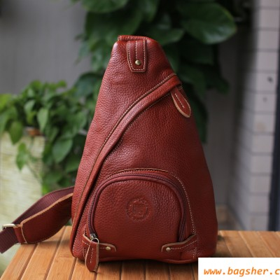 Womens Brown Leather Chest Pack