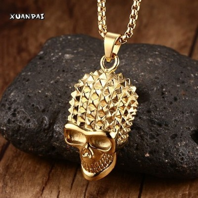 Mens Pyramid Spikes Skull Stainless Steel Pendant Necklace Gold-color Punk Rock Biker Halloween Jewelry Gift ,with 24 inch Chain