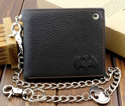 Mens Teens Biker Rock Case Cilp Batman Leather Wallet With Silver Link Chain XT7