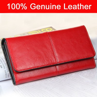 2017 New Women Wallets 100% Genuine Cow Leather Purses Fashion 2 Tone Lady Red Long Wallet Female Clutch Bag 501-8+1