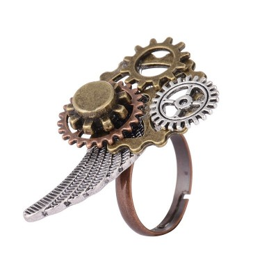 Amazing Lostagic Design Various Gears and Wing Combined Mechancal Gears Steampunk Ring Jewelry