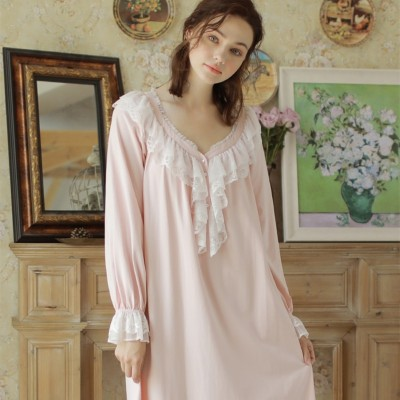 Nightgown Women Cotton Vintage Night Dress Pink Sleepwear Long Long Sleeve Dress Homewear Goddess Nightdress V Neck