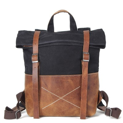 20-35 Litre Men Canvas Backpack Vintage Canvas Rucksack Aptop Backpack Waterproof Laptop Backpack Leather