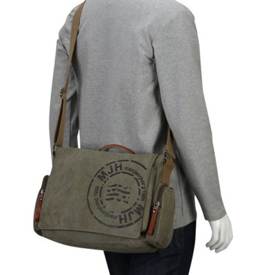 Vintage Mens Messenger Bags Canvas Shoulder Bag Fashion Man Business Crossbody Bag Printing Male Travel Handbag
