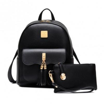 Black bag set women leather backpack girl schoolbag cute small tassel bag ladies stylish backpack mini bags for girls gift