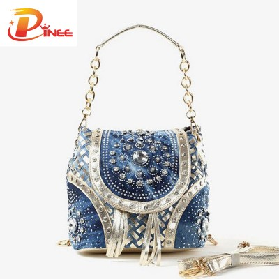 Rhinestone Handbags Designer Denim Handbags Gold/Sliver fashion ladies handbag designer weave stylewomen shoulder bags