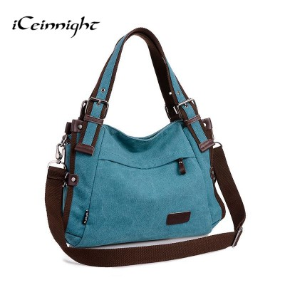 iCeinnight 2017 women canvas bag casual vintage shoulder bag fashion school bags for teenagers and teenage girls blue handbag