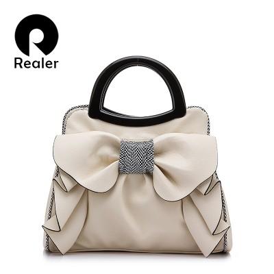 REALER brand women bag with large bow shoulder bags ladies designer handbag high quality black pu leather tote bag 8 colors
