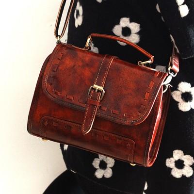 Brand Vintage Trendy Casual 100% Real Natural Genuine Leather Cowhide Womens Crossbody Tote Handbag Handbags Bag Bags For Ladies
