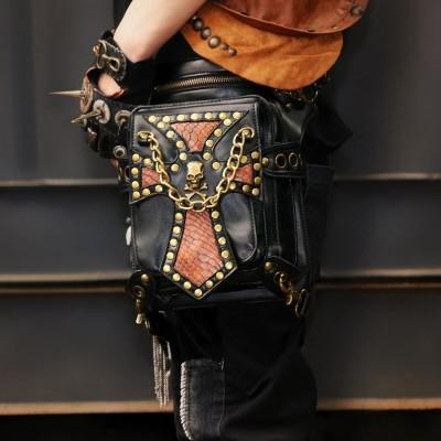 Black Steampunk Waist Bag Women Skull Rivet Crossbody Bag Men Motorcycle Drop leg Thigh Holster Bag Travel Pack Wallet Pouch Backpack SteamPunk Thigh Bag