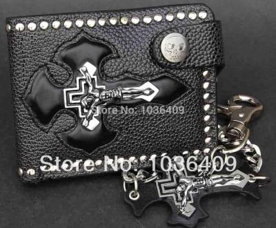 Men's Jesus Cross Leather Black Wallet Biker Rock Punk Purse With a Key Chain