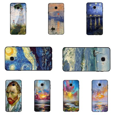 For Galaxy C7 Shell Ultra Thin Black Soft TPU Cover For Samsung Galaxy C7000 DIY Phone Case 5.7 Inch Van Gogh Pattern Conque