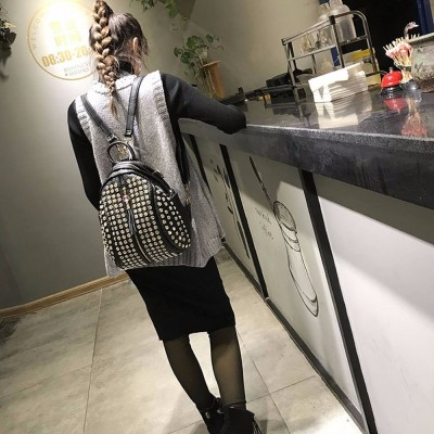 Fashion Womens bag Female Backpack Causal bags High Quality Rivet shoulder bag PU Leather Diamonds Backpacks For Girls