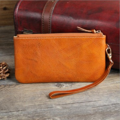 Japanese Style Simple Designer Cow Leather Women's Wristlets Vintage Ladies Genuine Leather Wristlets Clutch Female Card Purse