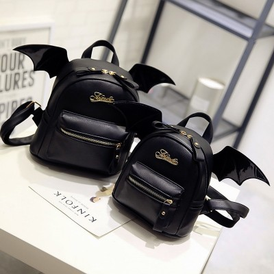 Black PU Leather Backpack with Wings Women Bat Wings Shoulder Bag Teenage Girls Boys Mini Black Bag New Fashion Small Rucksack