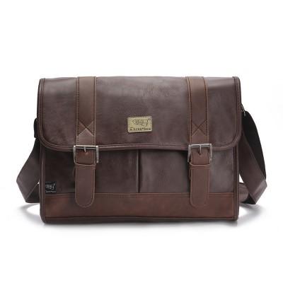 new 2017 high quality men handbags pu leather messenger bags men travel bags Metal zipper business Laptop shoulder bag 3colors