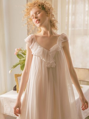 Camisole Nightdress Sleepwear Women Sexy Summer Lace Nightgown Solid Color Woman Sweet Pregnant woman's summer nightdress