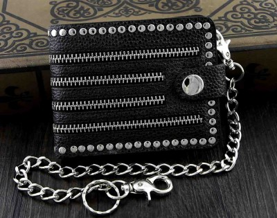 New Mens Hip Hop Punk Studded Biker Trucker Leather Wallet With Rider Chain