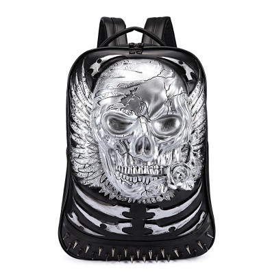 3D Skull Leather Backpack Gothic Steampunk Unique backpack cool bag steampunk fashion Men Women Backpack School Computer Laptop Bags Travel Bags Girls Vintage Rivets Halloween Bags