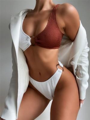 Ribbed High Waist Bikini Women Swimsuit Contrast Color Patchwork Swimwear Female 2021 New Bathing Suit Beachwear Swimming Suit
