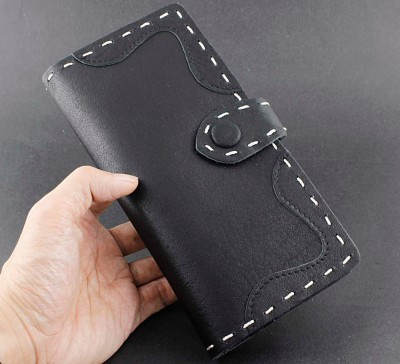 Men's Sipmle Style Cowhide Handmade Leather Wallet Biker Rock Snap Purse