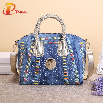 Vintage Denim Shoulder Handbags Fashion Women Bag Denim Handbag Large Capacity Blue Shoulder Bag Candy Color Women Messenger Bags
