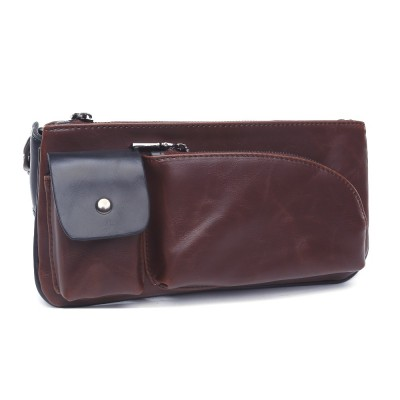 Leather Fanny Pack 2019 black fashion mens pu leather waist bag brown outdoor running belt retro high quality male fanny pack wallet pounch