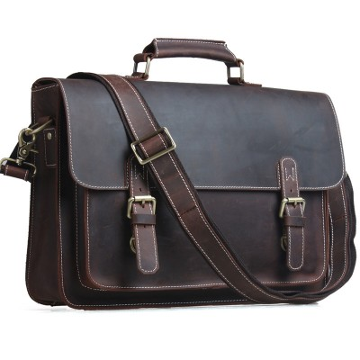 TIDING Men Briefcases Laptop Bag Vintage Style Cross Body Messenger Bag Cowhide Leather New Arrival 1099