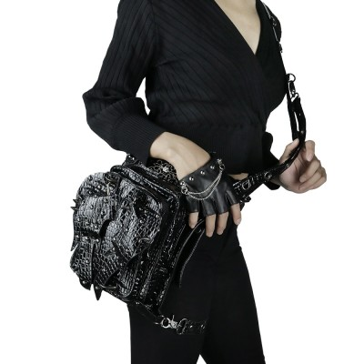 Fashion Gothic Patent Leather Waist Bag Steampunk Retro Rock Rivets Bag Women Black Bright PU Bags Men Motorcycle Leg Bag