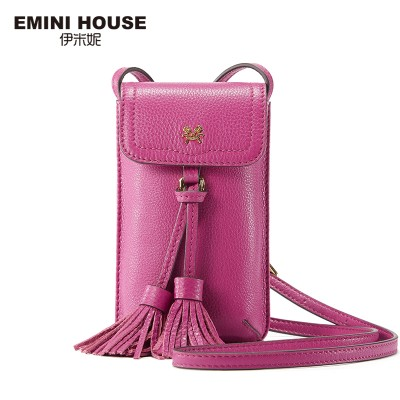 EMINI HOUSE Vintage Genuine Leather Tassel Phone Bag Women Shoulder Bags Crossbody Bags For Women Mini Messenger Bag
