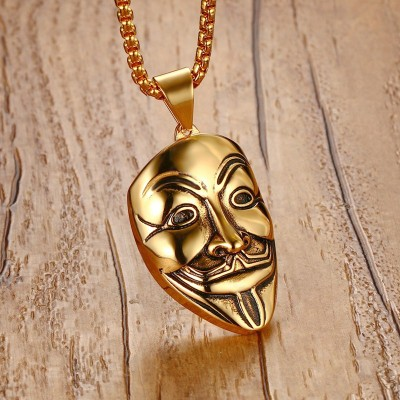 Mprainbow Mens Necklaces Stainless Steel V For Vendetta Mask Pendant Necklace Gold Tone Fashion Jewelry For Women or Men Collier