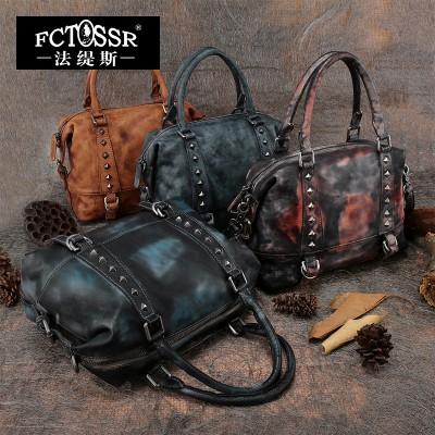 2019 Genuine Leather Women Handbag Handmade Cowhide Metal Rivets Cross Body Shoulder Bag