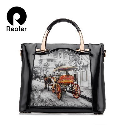 REALER Brand Fashion Women Printing Tote Bag Artificial Leather Ladies Vintage Handbag Women Shoulder Bag Women Messenger Bag