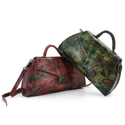 High Quality Handmade Vintage Women Single One Shoulder Bag Engraving Flower Embossed Design Genuine Leather Ladies Tote Handbag