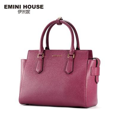 EMINI HOUSE 2 Colors Fashion Split Leather Trapeze Bag Women Messenger Bags Women Handbag Shoulder Crossbody Bags For Women