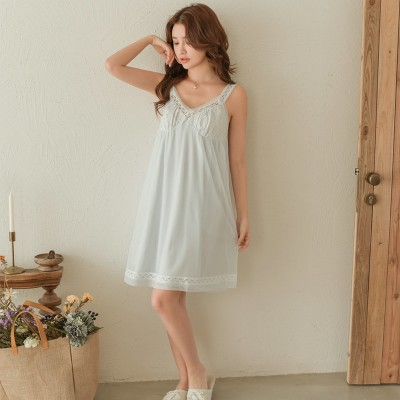 Sleeveless Nightdress Sexy Lace Modal Camisole Dress Lingerie Sleepwear Summer Nightgown Woman