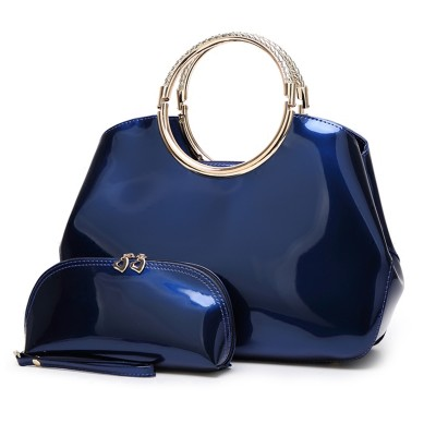 Women Tote Handbags Top Quality Patent Leather 2019 Luxury Fashion Designer Dinner Evening Women Clutch Purse Bags Set