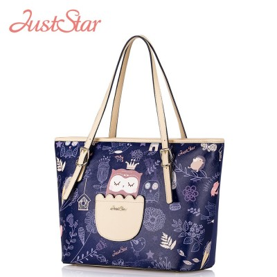 Just Star Women PU Leather Shoulder Bags Owl Patchwork Handbags Ladies Large Tote Bags Female Brand High Quality Bag JZ5883