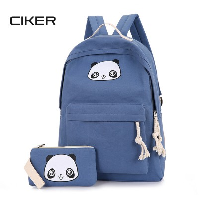 CIKER Cute Cartoon 2ps/set Women Bags Rucksack Panda Printing Backpacks School Bags For Teenagers Composite Clutch Bag Mochilas