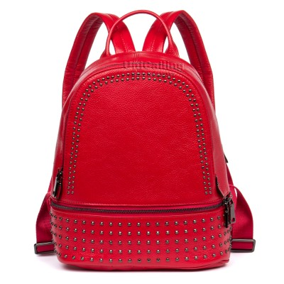 Brand female genuine leather backpack women stylish rivet small travel cusual real cow leather backpack bag girls mini backpack