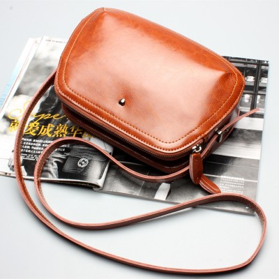 Vintage Small Oil Wax Genuine Leather Crossbody Bags Women Casual Shell Purses And Handbags High Quality Shoulder Messenger Bags