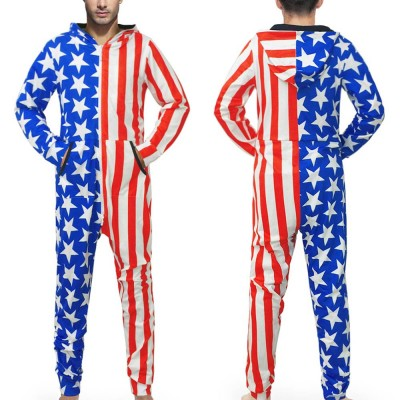mens onesie pajamas home wear Family 3D Star Printed Jumpsuit Adult Sleepwear Nightwear Romper man d90604