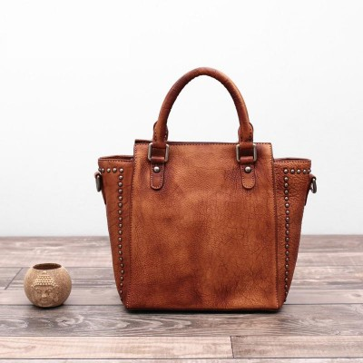 Luxury Quality Genuine Leather Ladies Handbags Famous Brand Designer Women Casual Tote Vintage Femina Top-handle Shoulder Bags
