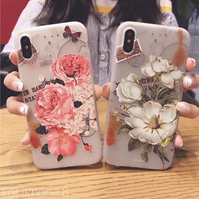 Brand Iphone 6 6s 7 6/7/8 plus 5 5s SE X Case For iphone 8 Case Plant Flower Rose Pattern Relief Phone Case SoCouple Silicone Case