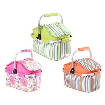 New 1pc Multi-colors Option Aluminum Frame Folding Picnic Baskets Foldable Cooler Basket Bag for Outdoor Activities