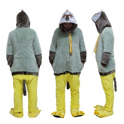 Men Women Unisex Adult Animal Sloth Fox Onesie Flannel Long Sleeve Hooded Kigurumi Homewear One-piece animal pajama Warm Onsie
