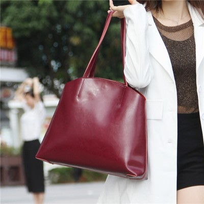 Women Bag Fashion Genuine Leather Women Handbags Euro Casual Shell Simple Pattern Shoulder Bag Female Leather Tote Composite Set