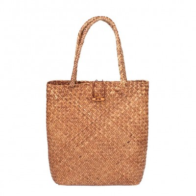 Hand Woven Large Rattan Straw Bag Flower Basket Storage Tote Female Bags Travel Handbag Shopping Braided Hand Bag For Women Girl