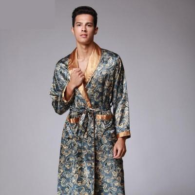 Mens Summer Dragon Print Silk Robes Male Senior Satin Sleepwear Satin Pajamas Long kimono Dressing Gown Bathrobe For Men